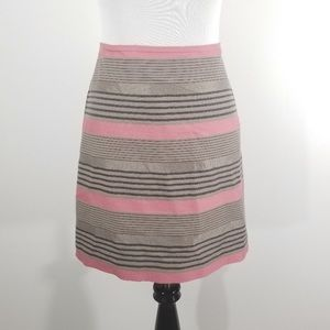 Ann Taylor LOFT pink and tan striped skirt